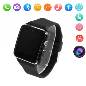 X6 Curved Touch Screen Bluetooth Smart Watch with Camera and Micro SIM Card Slot,Sleep Detector Fitness Tracker Movement Sports Pattern Pedometer Alarm Clock for Android and iOS iPhone (Black)